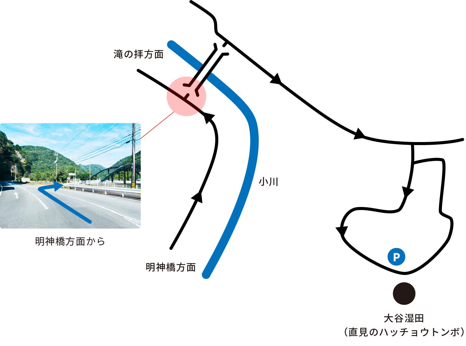 大谷湿田への道順画像